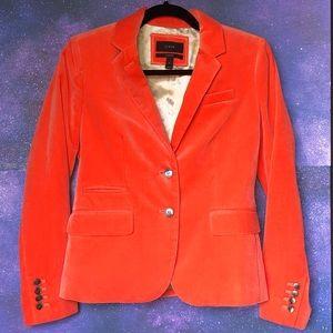 **NWOT J Crew Orange Velvet Schoolboy Blazer!**